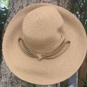 Eric Javits straw summer hat tan bow
